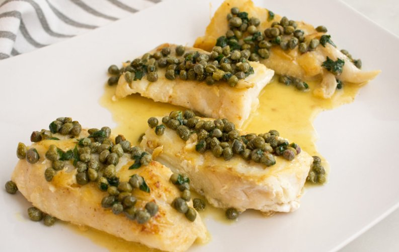 Seared Halibut with Lemon-Caper Sauce